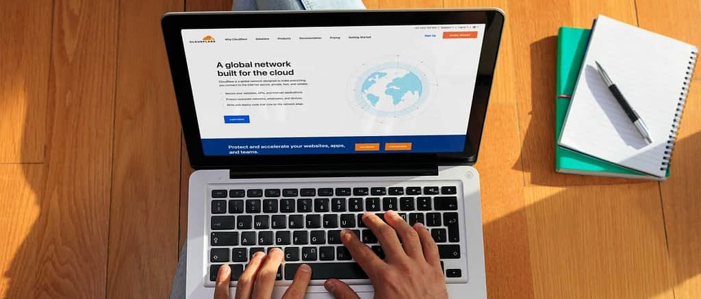 Man accessing Cloudflare from Macbook