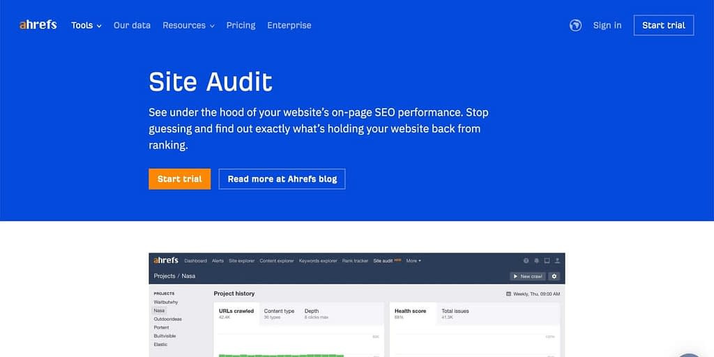 aHref's site audit tool webpage