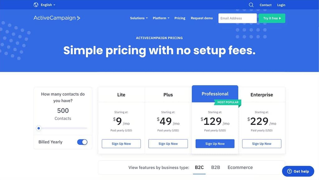 ActiveCampaign's Pricing Page