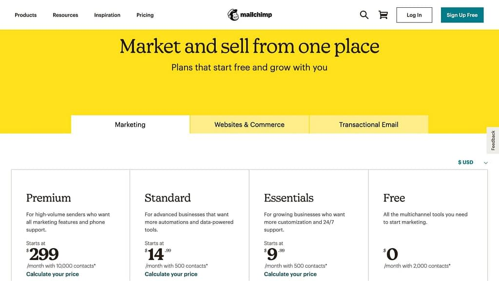 Mailchimp's pricing page