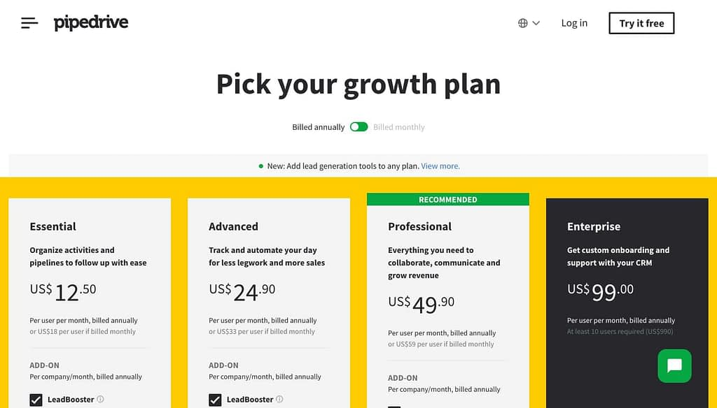 Pipedrive's Pricing Page