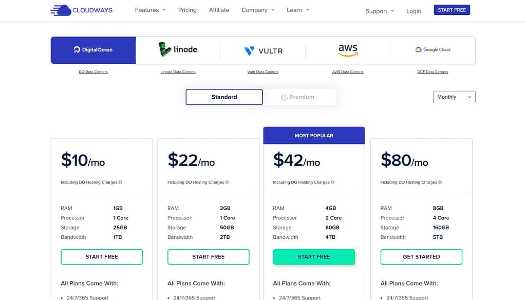 Cloudway's Pricing Plans