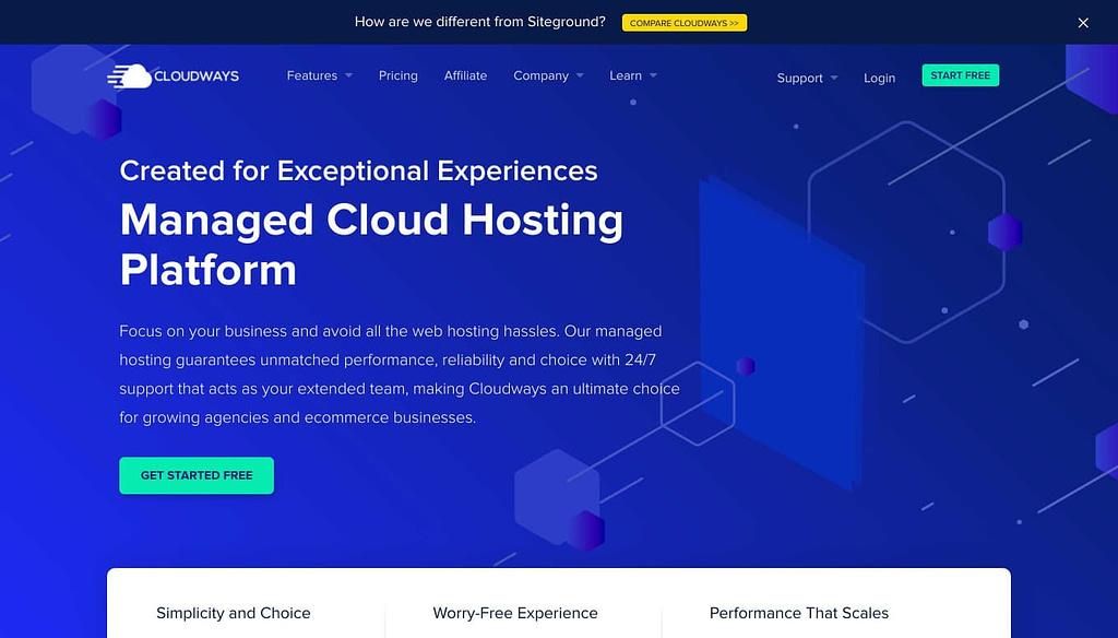 Cloudways.com Homepage