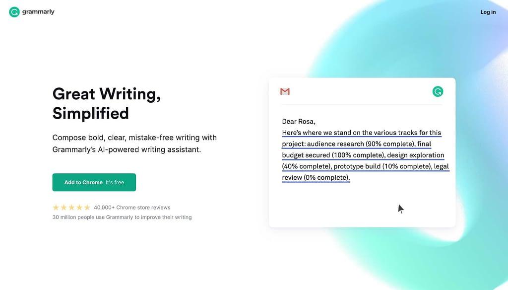 Grammarly's Homepage