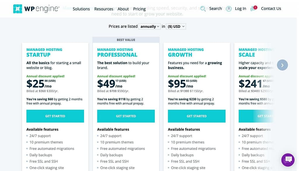 WP Engine's Pricing Plans