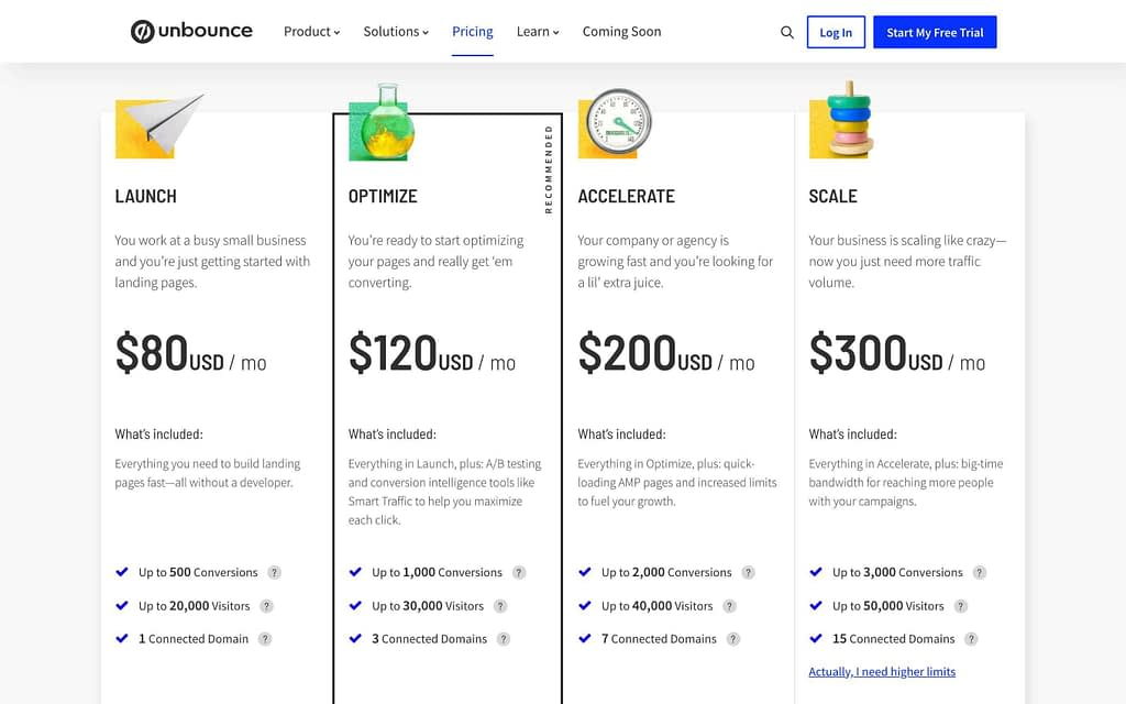 Unbounce's Pricing Plans