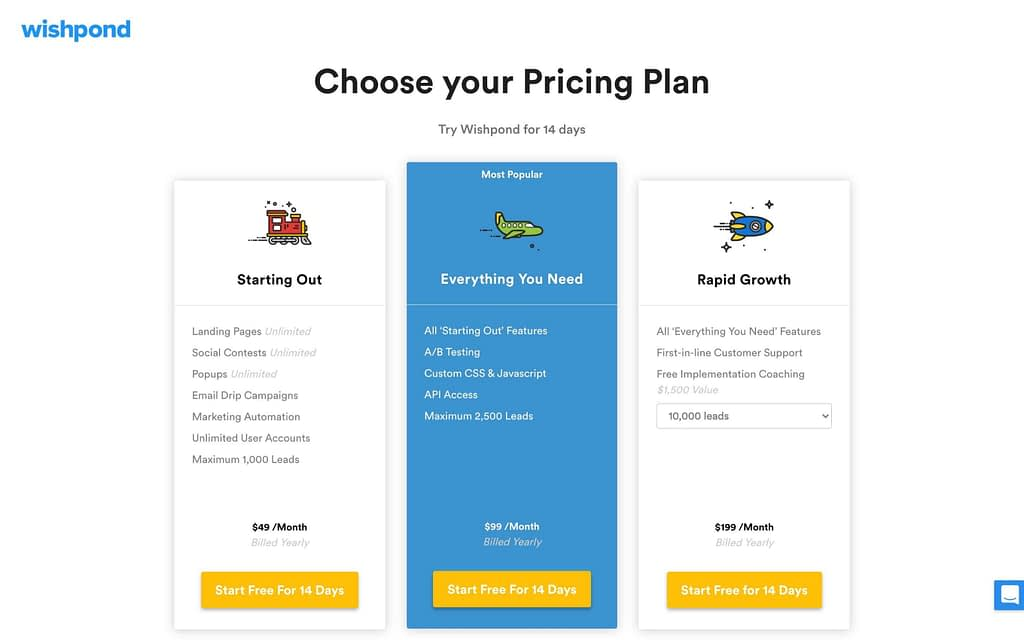 Wishpond's Pricing Plans