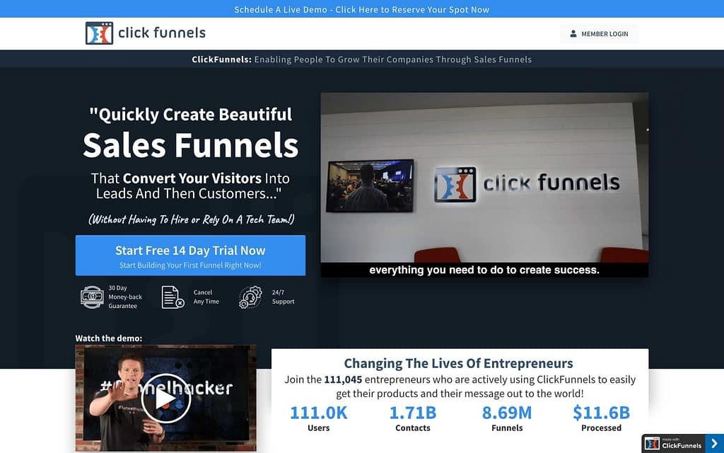 ClickFunnel's Homepage