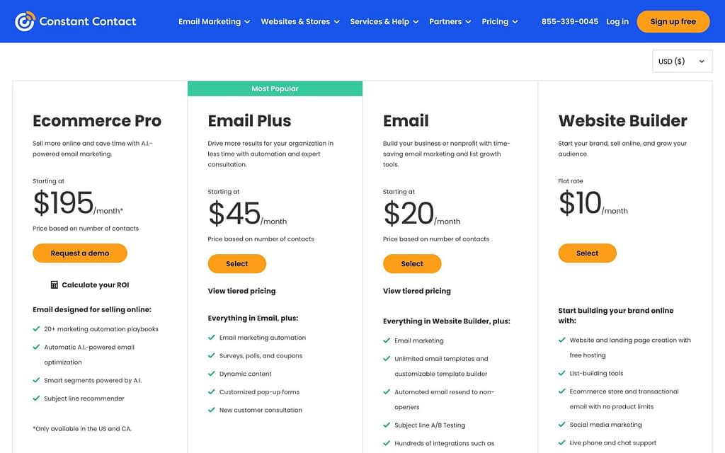 Constant Contact's Pricing Plans