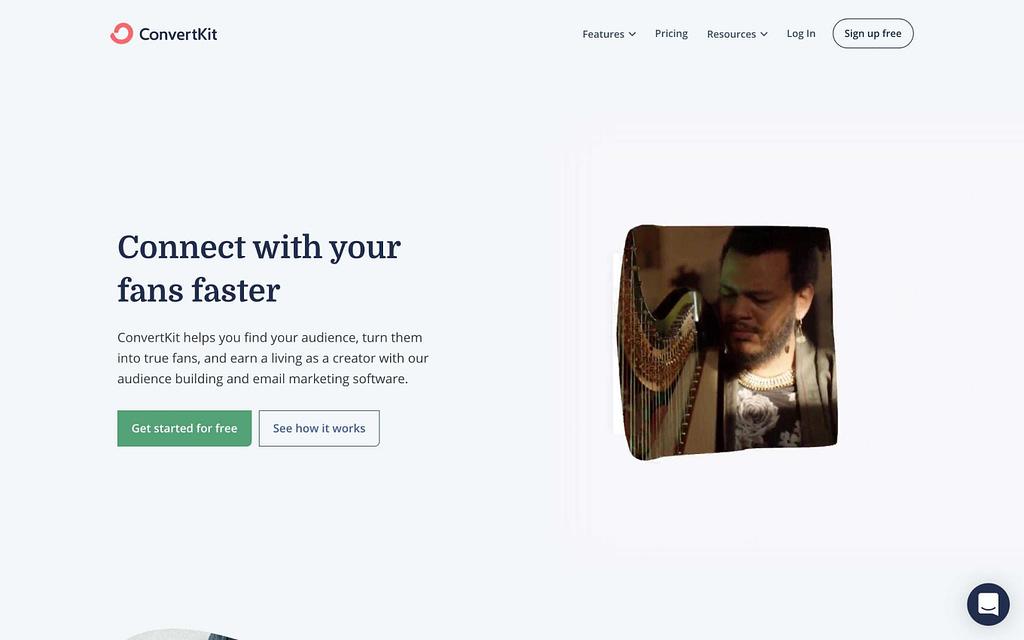 ConvertKit's Homepage