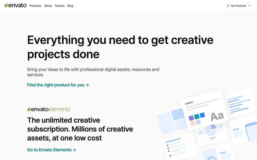 Envato's Homepage