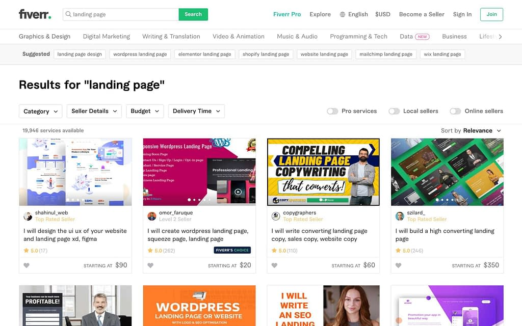 Fiverr Pricing Examples