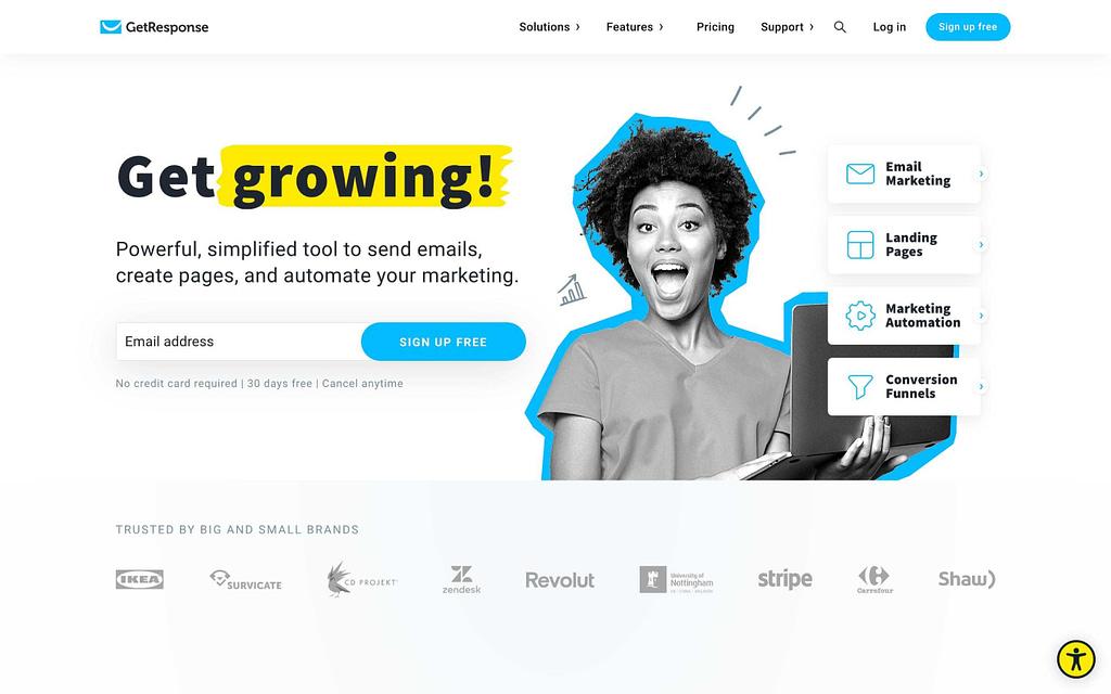 GetResponse's Homepage