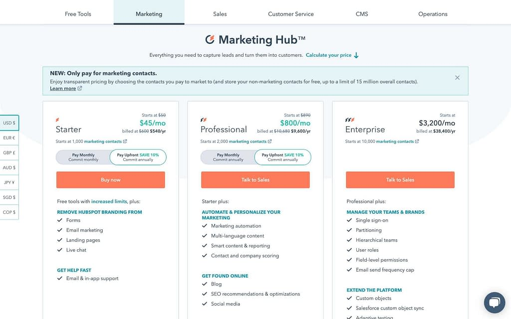 Hubspot's Pricing Plans