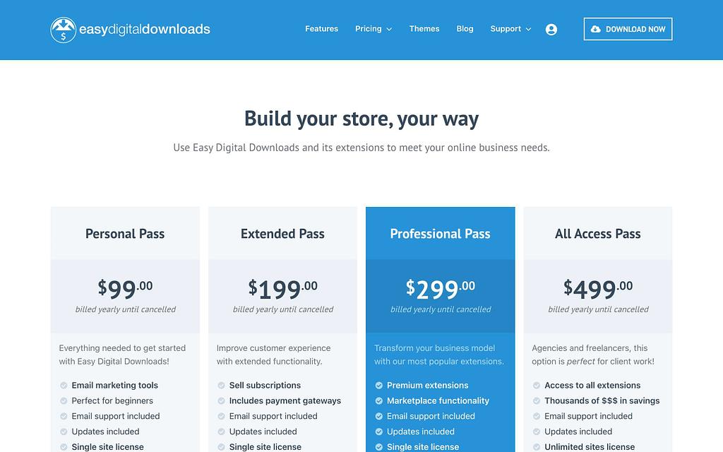 Easy Digital Download's Pricing Plans
