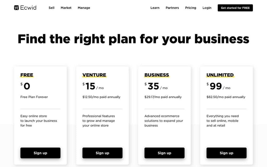 Ecwid's Pricing Plans