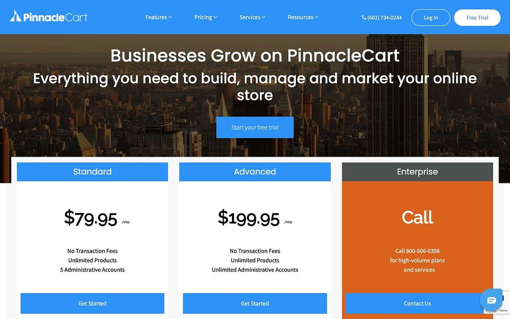PinnacleCart's Pricing Plans