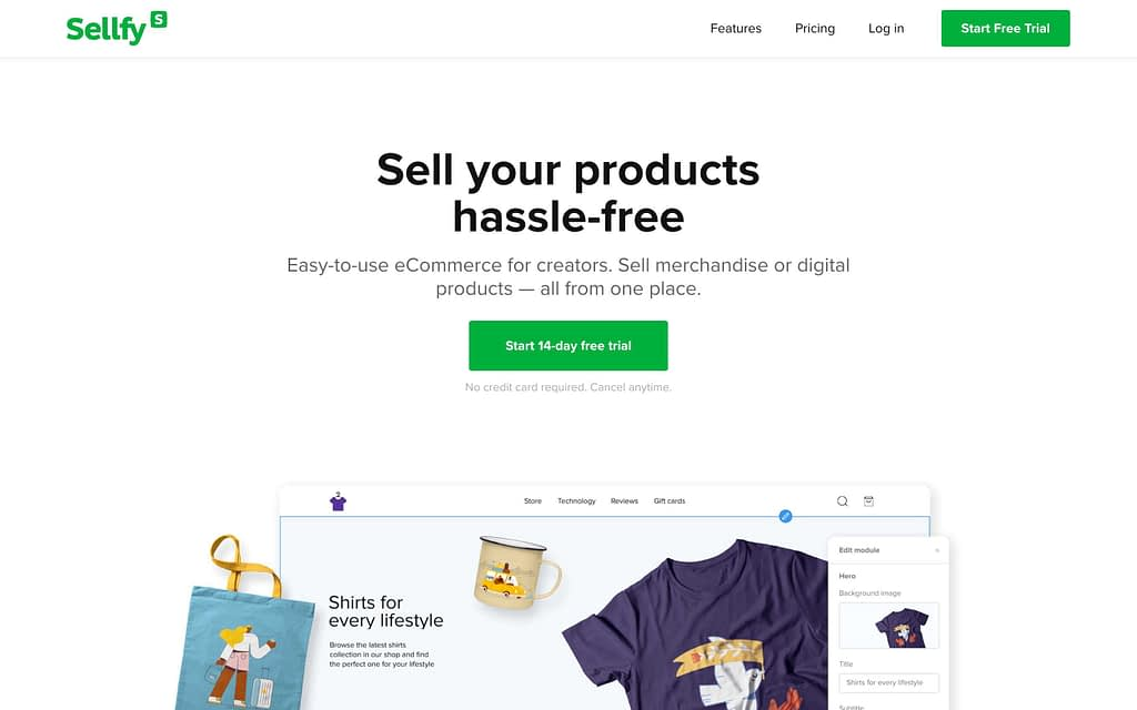 Sellfy's Homepage