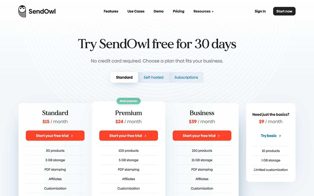 Sendowl's Pricing Plans