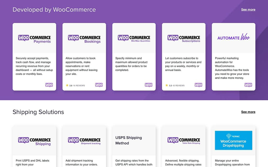 WooCommerce's Extensions